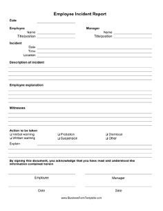 File Employee Rule Violations As Well As Other Inappropriate Behavior Using  This Basic Employee Incident Report Form