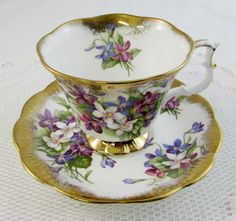 Royal Albert Tea Cup and Saucer Purple Flower with Heavy Gold Gilt, Vintage Bone China, Antique Tea Cup