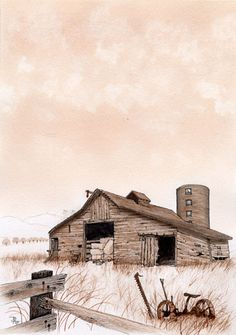 Barn at rest, monochrome water color Country Barns, Country Life, Country Roads, Farm Barn, Old Farm, Barns Sheds, Old Houses, Farm Houses, Back Road