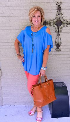 50 IS NOT OLD   LONGEST DAY OF THE YEAR   Cold Shoulder   Blue & Coral   Plunder Jewelry   Fashion over 40 for the everyday woman.