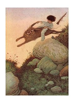 A Boy Riding A Rabbit (Boys Children Greeting Cards)
