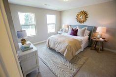 Henry Walker Homes - girl's rooms - cafe au lait walls, cafe au lait wall color, beige carpet, beige carpeting, gold mirror, gold flower sha...