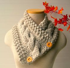 Knit Scarf Cable Cowl in Your Custom Color by WindyCityKnits