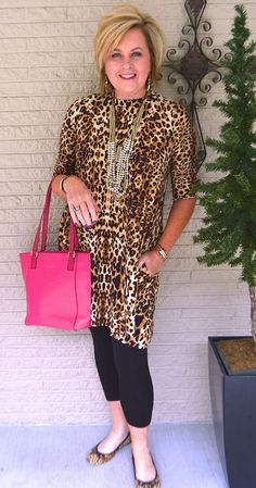 50 IS NOT OLD   WINDSHIELD AND THE BUG   Leopard print after 40   Pop of Color   Tunic and Leggings   Fashion over 40 for the everyday woman