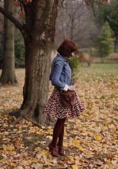 The clothes horse fashion blog  Skirt, denim jacket, color scheme