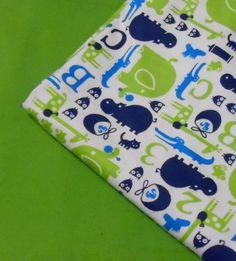 Baby Blanket: Baby Animals & Green Flannel by RaedasSunshine