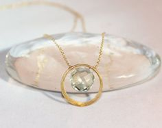 Green Amethyst Gold Circle Pendant Necklace - Graduation Gift - Bridal Jewelry