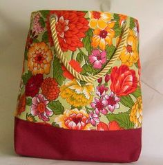 Canvas Beach Bag in Wine and Floral by HatsEtc on Etsy