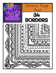 This is my favorite set of borders yet! this set is packed with 34 fun doodle borders in a variety of styles. whether you are just getting started on tpt Tangle Doodle, Doodles Zentangles, Zen Doodle, Doodle Art, Doodle Borders, Doodle Patterns, Zentangle Patterns, Creative Clips, Doodle Drawings