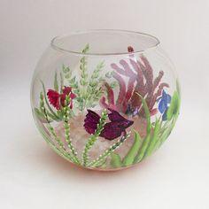 Betta Art Decorative Fish Bowl Handpainted Beta Fish Bowl  Decorative Fish Tank  Aquatic Theme