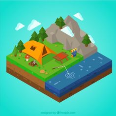 3D campsite with mountains and river Free Vector