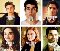 Character Birthdays according to the Teen Wolf calendar