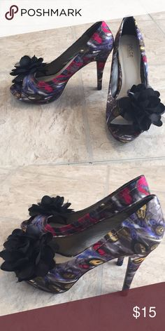 Beautiful dolce by mojo moxy Stilettos In great used condition no scuffs or stains. Brightly colored peacock design with big black flower dolce by mojo moxy Shoes Heels