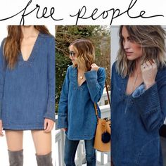 Free People Dream Bell sleeve denim tunic This is a size small Free People denim tunic. Please see description in the photos  Free People Tops Tunics