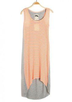 Orange Striped Patchwork Irregular Sleeveless Flax Blend Dress