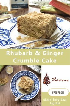 This gluten free Rhubarb & Ginger Cake, topped with a delicious ginger crumble mix, makes a perfect pudding with custard or teatime treat with a cuppa Gluten Free Sweets, Gluten Free Cakes, No Dairy Recipes, Dessert Recipes, Yummy Recipes, Rhubarb Cake, Sweet Treats, Yummy Food, Family Recipes