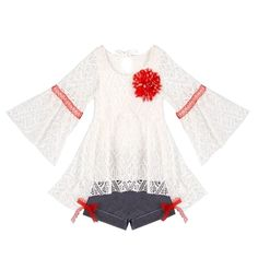 ... Ruffled Boho Hi-Low Tunic w  Flower Trim and Pin Stripe Cuffed Short  Clothing Set - Proudly Made in USA by Mia Belle Baby. COMFORTABLE TO WEAR    FABRIC ... 1302a798e53f
