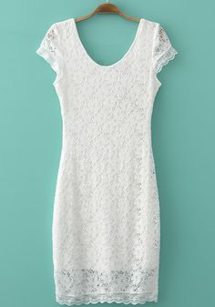 White Floral Hollow-out Lace Short Sleeve Lace Dress