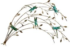 CONTEMPORARY 'DRAGONFLY BRANCH ' METAL WALL ART