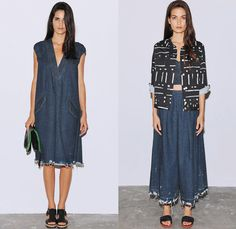 Rachel Comey 2014 Spring Womens Presentation - New York Fashion Week - Denim Pieces, Palazzo Pants, Lace, Paint Splatter and Ostrich Feathers: Designer Denim Jeans Fashion: Season Collections, Runways, Lookbooks and Linesheets