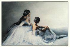 Ballerinas painting by Agata Mikulska-Sienkiewicz , acryl on canvas, 100x150cm