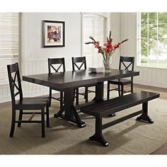 4943c650ed07 Shop for Farmhouse Dining Set - Antique Black. Get free delivery at  Overstock - Your Online Furniture Shop!