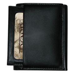 Organize your credit cards, IDs, and money with this tri-fold leather mens wallet. This wallet is crafted from richly oiled and tanned cowhide leather and has a lined section for currency along with multiple card slots and two utility slip pockets.