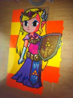 Zelda perler pre-iron by Birdseednerd on DeviantArt Melty Bead Patterns, Kandi Patterns, Perler Patterns, Beading Patterns, Diy Perler Beads, Perler Bead Art, The Legend Of Zelda, Cross Stitch Games, Melting Beads