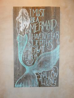 Barnwood Mermaid Sign Hand Painted Original by tawnystreasures,