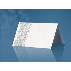 Dobbelt bordkort med preget mønster - Sølvblomster - 25 stk
