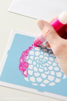 Gelatos® craft idea :: Stenciled flower www.CraftaholicsAnonymous.net