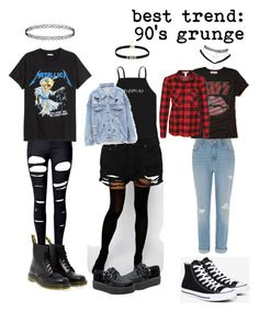 """""""90's grunge"""" by littlebodybigstyle on Polyvore featuring WithChic, Dr. Martens, ASOS, Boohoo, Hollister Co., NLY Trend, River Island, Converse and Wet Seal"""