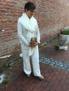 Feeling glamorous in head to toe white on BrendaKinsel.com