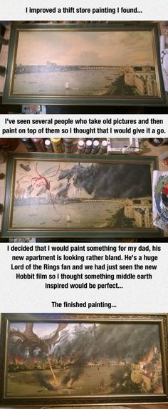 Lord of The Rings DIY. . improved a drift store painting I found... I' seen several people who take old pictures and then paint on top of them so I thought that Lord of The Rings DIY improved a drift store painting I found I' seen several people who take old pictures and then paint on top them so thought that