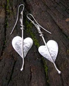 Silver heart leaf earrings by Sue and Michael