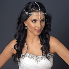 Egyptian Style Crystal Rhinestone Teardrop Forehead Headband