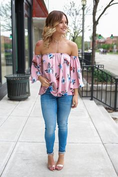 Blush Off the Shoulder 3/4 Bell Sleeve Floral Print Top – UOIOnline.com: Women's Clothing Boutique(Off The Shoulder Top Country)