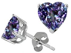 Tommaso Design Tm Heart Shape 7mm Simulated Alexandrite Earring Studs Rellek Jewelry