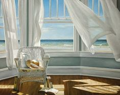 Daydream away the cares of your day as you gaze upon this iCanvas Karen Hollingsworth Gentle Reader Canvas Wall Art. This eye-catching giclée print features seascape scenery as viewed from within a breezy beach house with open windows. Pont Des Arts Paris, Open Window, Window View, Windows, Stretched Canvas Prints, Belle Photo, Painting Prints, Art Paintings, Art Prints