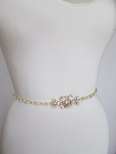 This sparkly skinny bridal belt is made with top quality crystals beaded on 3/8 wide grosgrain ribbon. The crystal part of the bealt measures 12