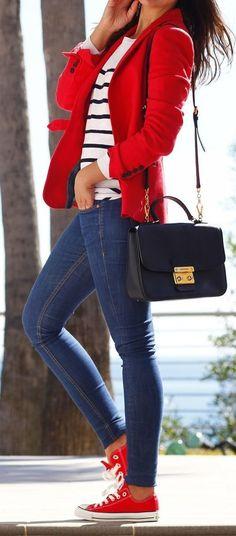 #spring #outfits Red Blazer + Striped Top + Navy Skinny Jeans ❤️