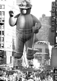 Macy's Thanksgiving Parade Balloons Since 1927 - Vintage Smokey the Bear, Macy's Thanksgiving Day Parade, NYC… - Macys Thanksgiving Parade, Vintage Thanksgiving, Vintage Ads, Vintage Photos, Vintage Photographs, Vintage Style, Smokey The Bears, Tsumtsum, Felix The Cats