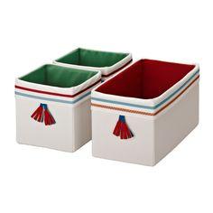 IKEA - PYSSLINGAR, Caixa, , É dobrável por isso poupa espaço quando não está a ser utilizado.Encaixa na perfeição nas gavetas STUVA; utilize para organizar meias, roupa interior e pequenos objectos.As decorações relebram o artesanato tradicional. - 8.99€