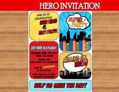HERO Birthday Party - INVITATION- COMIC Hero Party-  Boy Birthday - Heroes Party Printables - SUPER Invite -Comic Book