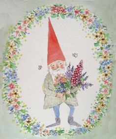 Gnome with flowers. Fairy Land, Fairy Tales, Illustrations, Illustration Art, Troll, Elves And Fairies, Christmas Gnome, Woodland Creatures, Whimsical Art