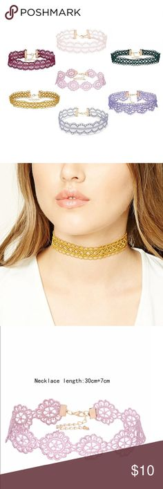 Lace Colored Choker Necklaces These are very cute colored lace choker necklaces. They all have link chains to adjust the size! Jewelry Necklaces