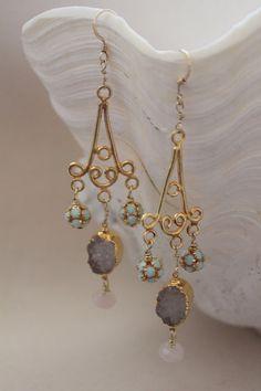 Agate and Quartz Chandelier Earrings. $60.00, via Etsy.