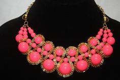 NEW! NWT! AMRITA SINGH Hot Pink Resin Bead BROADWAY Statement Bib Necklace #AmritaSingh