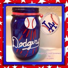 Cute & Custom Los Angeles Dodgers Baseball Mason Jar with Matching Ornament by: Tina Listro