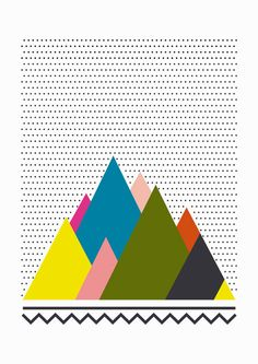 Colorful mountains / A4 Print.